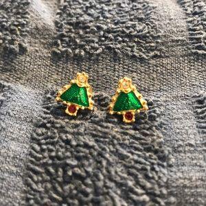 Avon Christmas Tree Earrings CZ Garnet Enamel
